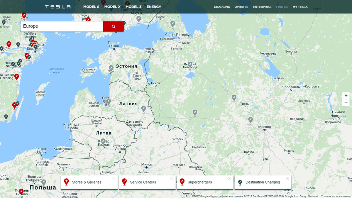 Зарядные станции Tesla в России